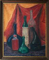 Ölgemälde 1930er/40er J. deutsch, Flaschen-Stilleben nicht signiert 50 x 40 cm