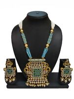 Indian Bollywood Ethnic Firozi Pearl Fashion Traditional Necklace set For Women