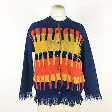 Vintage 1970s Cardigan Sweater Navy Blue Orange Mustard Yellow Stripe Fringe