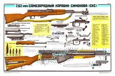 "Soviet Russian Military WATERPROOF Poster Print SIMONOV Carbine SKS 24x36"""