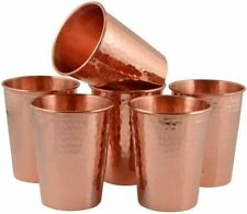 Hammered Pure Copper Tumbler Set for Water Moscow Mule Ayurveda Healing glass