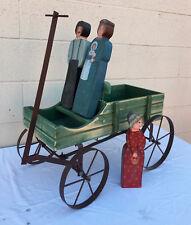 Folk Art Created By Ruth Morris Replica Of Buckboard Wagon W/ 3 Family Figures