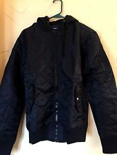 $80 NWT American Rag Men's Size S Small Black Quilted Hooded Bomber Jacket Coat