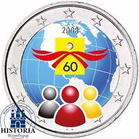 Belgien 2 Euro Münze 60 Jahre Menschenrechte 2008 Stempelglanz in Farbe