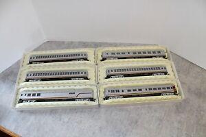 6 Santa Fe Silver Passenger Cars RIVAROSSI HO Scale