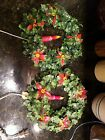 2 Vintage Christmas Plastic Wreath w/ Poinsettia Electric Lighted Candle 11'