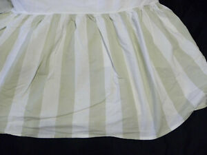 """Simply Shabby Chic Cabana Green King Size Bed Skirt White Stripe Cotton 15"""" Drop"""