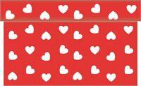 1 Tischläufer Love in Rot aus Linclass® Airlaid 40 cm x 4,80 m - Tischband Herz