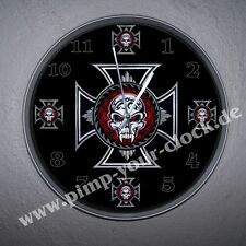 "Top  Wanduhr "" Iron Cross - Eisernes Kreuz - Skull ""  in Top Größe 30cm"