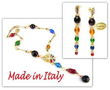 Authentic Italian Made Venetian Murano Glass Jewelry Set: Necklace & Earrings