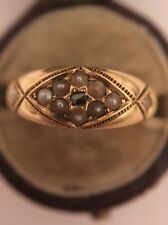 Antique Victorian 15ct Yellow Gold Ornate Seed Pearl Rose Cut Diamond Ring Band