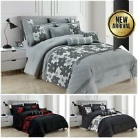 7 Pcs NOVENA Bedspread Quilted Comforter Set Double King Size Bed Throw Cover UK