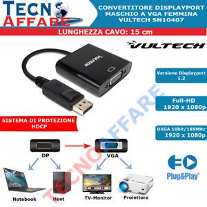 Cavo Adattatore DisplayPort a VGA per PC Monitor Proiettore Host Vultech SN10407