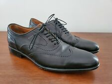 SIZE 8.5 John Varvatos Black Wingtip Oxford Men's Leather Lace Shoes Italy