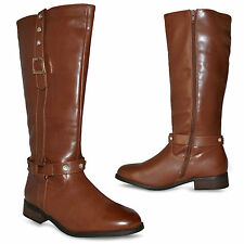 New Womens Ladies Mid Calf Brown Tan Under Knee Winter Boots Size 3 4 5 6 7 8