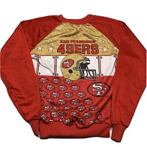 Vintage 90s San Francisco 49ers All Over Print Crewneck Sweatshirt Usa Made XS/S