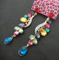 Women's Multi-Color Crystal Rhinestone Flower Betsey Johnson Drop Earrings