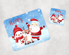 Kids Personalised Christmas Santa Placemat and Coaster Set of 2 Ideal for Xmas