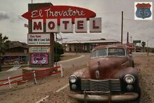 El Trovatore Motel in Kingman, Arizona, on Route 66, Vintage Car, AZ -- Postcard