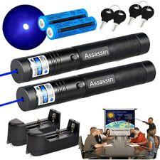 2x Adjustable Focus Blue Purple Laser Pointer Pen 18650 Rechargeable Lazer Torch