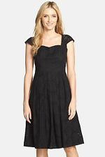 Adrianna Papell Eyelet Fit & Flare Dress Black NWT SZ 8