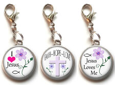 3 Clip On Charms Bible Verse Christian Religious Dangle Charm Lobster Clasp #8