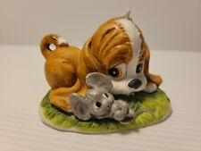 Lefton Hand Painted Ceramic Brown & White Puppy Dog & Mouse Figurine #01316