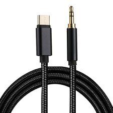 USB C zu 3,5mm Klinke Stecker AUX Kabel Stoffummantelt Länge: 1m in schwarz