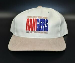 Texas Rangers Vintage 90's Twins Enterprise Beige/Brown Strapback Cap Hat - NWT