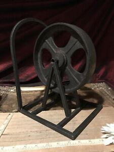 """One Bookend Pulley Farmhouse Cast Iron Retro Vintage Look Steampunk 11 3/8""""x8"""""""