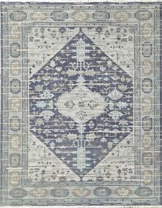 Wool Area Rug Transitional Hand Knotted with Abstract Line, Blue Rug, 8x10 -7130