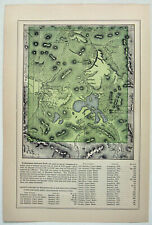 Yellowstone National Park - Original 1891 Map by Hunt & Eaton. Antique
