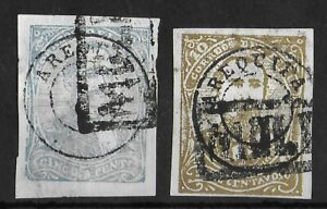 AREQUIPA PERU LOCAL 1882-1885 Used Imperf Set of 2 Stamps Cancels!