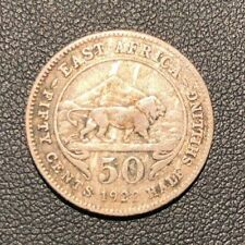 aVF 1922 British East Africa 50 Cents, Half Shilling Silver Coin!