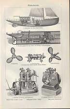 Lithografie 1907: Motorboote. Motor Boot Sport-Jacht Boots-Motor Schiffsschraube