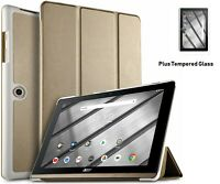 Smart Cover Case & Tempered Glass Screen For Acer Iconia One 10 B3-A50 FHD