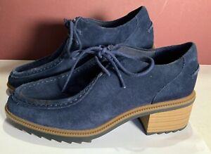 Clarks Navy Blue Suede Somerset Size 6 Women's Shoes Block Heel