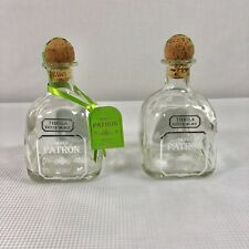 LOT OF 2 EMPTY PATRON SILVER TEQUILA GLASS BOTTLES WITH CORK.