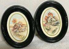 Homco Home Interiors 2 Pictures Oval Frame Farm House Flowers Fence Vintage