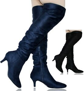 Ladies Women Suede Low Kitten Heel  Long Ruched Over The Knee Boots Shoes OM-2