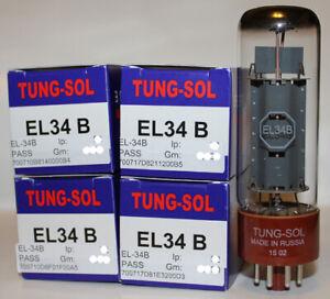 Factory Platinum Matched Quad Tung Sol EL34B / EL34 tubes, Brand New in Box