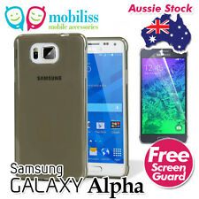 TPU Gel Jelly iskin Case Cover for Samsung Galaxy Alpha - Dark Grey