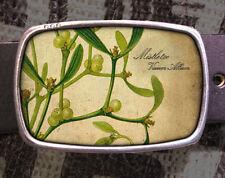 Mistletoe Vintage Inspired Art Christmas Gift Belt Buckle