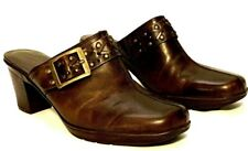 """CLARKS BENDABLES brown leather studded buckle CLOGS mules 3"""" heel 9 M excellent!"""