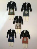 5 Tartan Kilts Wedding Card Making Scrapbook Craft Embellishments Toppers (2)