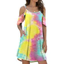Women Summer O Neck Cold Shoulder Short Dress Solid Casual Pocket Ruffle Dress