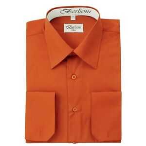 Berlioni Italy Mens Dress Shirt French Convertible Cuff Solid 17 Colors 12 Sizes