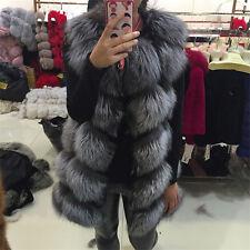 Genuine Real Whole Fox Whole Fur Vest Women Magic Series Gilet Long Jacket Coat