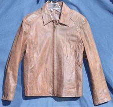 Womens Dalla Fontana Brown Genuine Leather Coat Jacket Sz Med