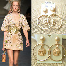 Lady Fashion Baroque Dangle Drop Geometric Gold Plated Shiny Eve Party Earring C